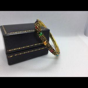 Vtg Kids Multi-Color Faux Stones Bangle Bracelet
